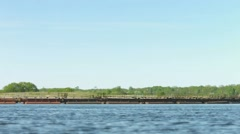 dredger on a large river. russia, volga river - stock footage