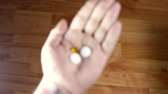 Man Hand Holding Pills In His Palm, Medical, Drugs, Abuse, Rack Focus Stock Footage