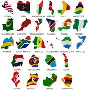Africa countries flag maps part Stock Illustration