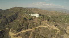Aerial Shot of Griffith Park Observatory Stock Footage