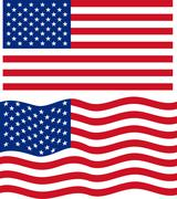 Flat and waving American Flag. Vector Stock Illustration