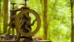 Abandoned in the rainforest old press  Stock Footage