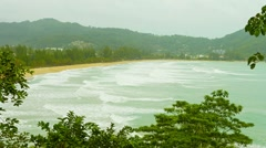 Thailand, kamala beach. the rainy season, cloudy. no tourists Stock Footage