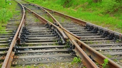 Old mechanical rusty railroad switch Stock Footage