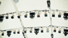 Soffits and other equipment under the white ceiling over the stage Stock Footage