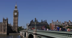 UHD 4K London Tourists Visiting Sightseeing Landmarks Big Ben Westminster Bridge Stock Footage