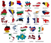 Europe countries flag maps part  Stock Illustration