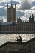 couple near parliament - stock photo