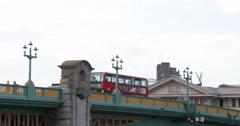 UHD 4K Double Decker Bus Passing A300 Busy Road Southwark Bridge London City UK Stock Footage
