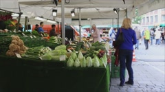 Munich produce stand (2 of 3) Stock Footage