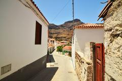 Fataga. town in the mountains Stock Photos