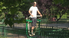 Adult fitness outdoors, man suitable for sport and bodybuilding training, summer Stock Footage