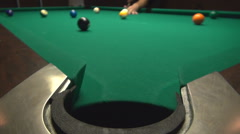 Close up billiards pocket, focus on ball reaching pocket sport indoors, have fun Stock Footage
