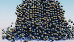 Small balls and large balls falling - stock footage