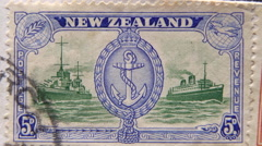NZ WW2 stamps on letter Stock Footage