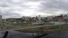 Octavio Frias Bridge in Sao Paulo, Brazil - Latin America Stock Footage