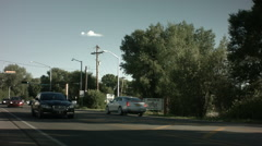 Welcome to taos sign with traffic wide Stock Footage