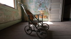 Haunted Room with Scary Antique Baby Stroller Horror Halloween Closer Stock Footage