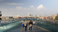 4k Timelapse of St. Paul's Cathedral and the Millennium Bridge Stock Footage