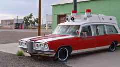 Vintage Ambulance Muscle Car Classic Americana Route 66 Style Side Shot Wide Stock Footage