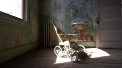 Haunted Room with Scary Antique Baby Stroller Horror Halloween Stock Footage