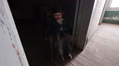 Haunted Hotel Hallway with Scary Doll for Horror Ventriloquist Wide Shot Stock Footage
