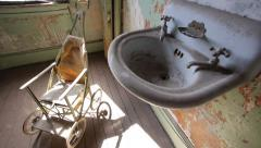 Haunted Room with Scary Antique Baby Stroller Horror Halloween POV Approach Stock Footage