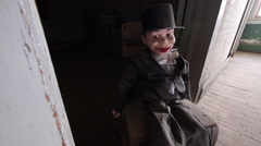 Haunted Hotel Hallway with Scary Doll for Horror Ventriloquist Stock Footage