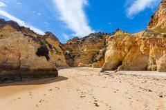rocky cliffs on the coast of the atlantic ocean - stock photo