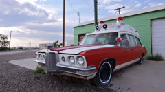 Vintage Ambulance Muscle Car Classic Americana Route 66 Style Low Angle Side Stock Footage