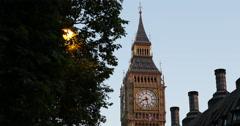UHD 4K Elizabeth Clock Tower Big Ben Westmister Palace Parliament House London Stock Footage