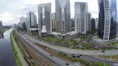 Aerial view of Morumbi and the famous bridge in Sao Paulo, Brazil Stock Footage