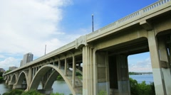 Time lapse of University bridge in Saskatoon, Saskatchewan Stock Footage