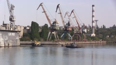 Two old tow ships Stock Footage