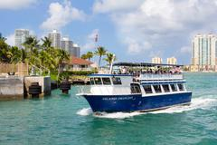 sightseeing tour aboard a ship in miami - stock photo