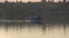 Speedboat on the river Stock Footage