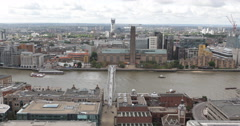 UHD 4K Landmark London Skyline Tate Modern Museum Millennium Bridge People Walk Stock Footage
