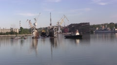 Ship and floating dock Stock Footage