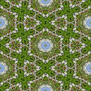 kaleidoscopic bee on flower seamless generated texture or background - stock illustration