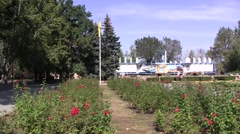 Ukrainian flag over the floverbed Stock Footage