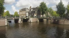 Busy day on the Amsterdam Canals Stock Footage