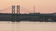 I-74 Interstate bridge over the Mississippi at sunset - stock footage