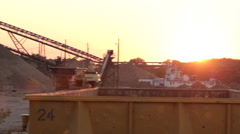 Industrial site and bridge along the Mississippi Stock Footage