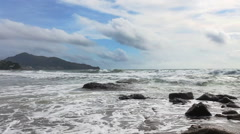 Sea tide at the tropical beach with sand and stones Stock Footage