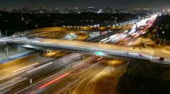 San Diego Freeway Night Time Lapse with Zoom Stock Footage
