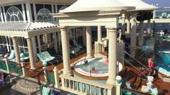 Mediterranean cruse ship swimming pool pan 4K 006 Stock Footage