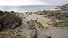 Gunwalloe Cornwall England UK on the Lizard Peninsula PAN Stock Footage