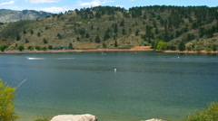 Boating in Horsetooth Reservoir Colorado 4k Stock Footage