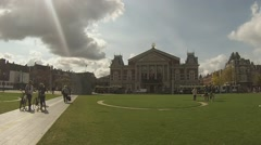View across the Museumplein to the Concertgebouw Amsterdam Stock Footage