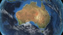Australia. 3d earth in space - zoom in on Australia contoured 4k Arkistovideo